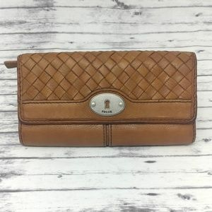 FOSSIL Woven Brown Leather Wallet